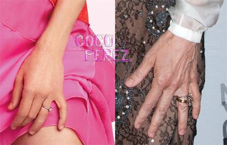 Sarah Jessica Parker Photoshop hands before and after