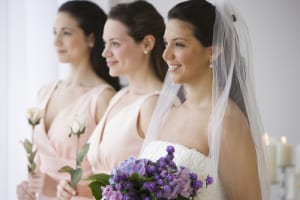 Beautiful bride and bridesmaids