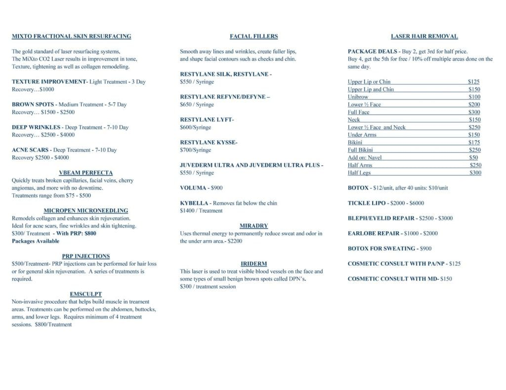 Cosmetic Menu of Services